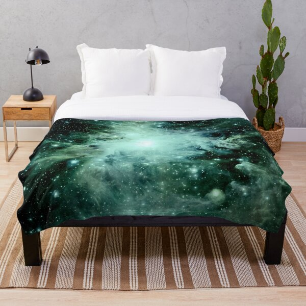 Galaxy Orion Nebula Forest Green Teal Throw Blanket
