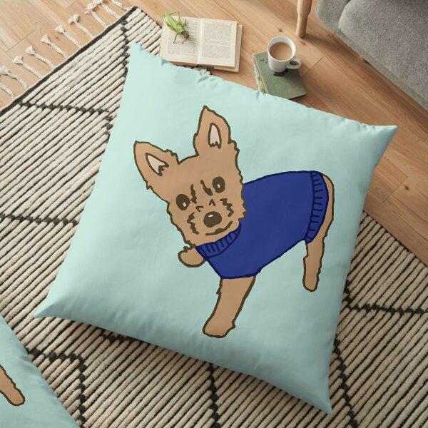 Blue Sweater Yorkie Floor Pillow