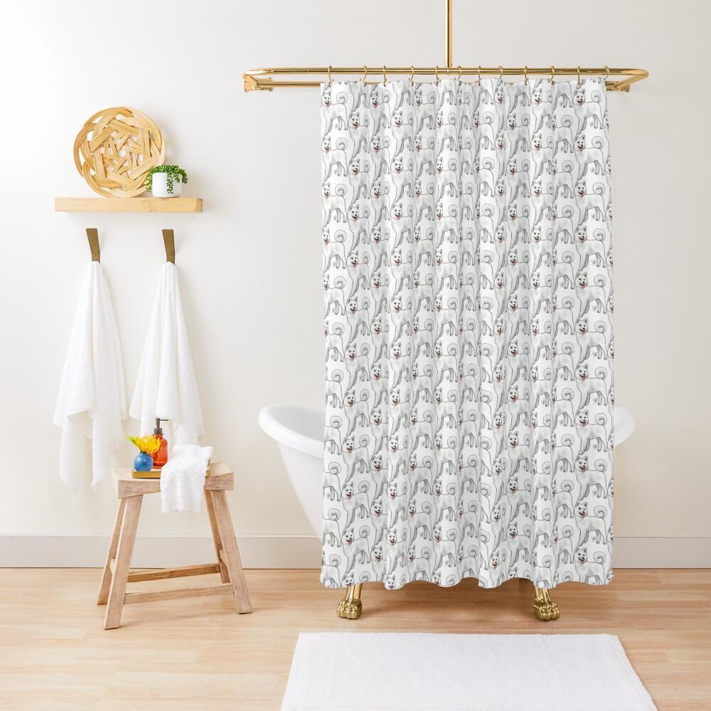 Akita - White Shower Curtain