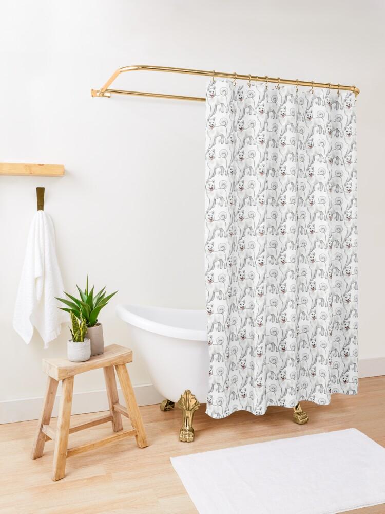 Alternate view of Akita - White Shower Curtain