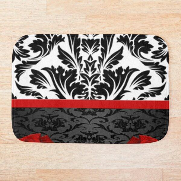 Black White Damask & Red Roses Bath Mat