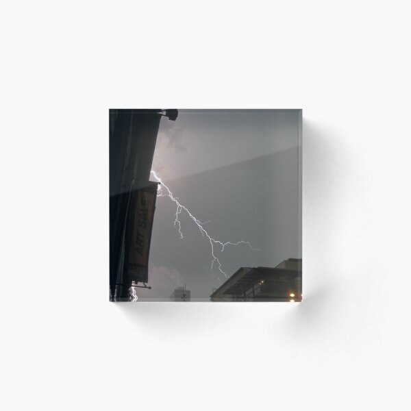 Lightning In Brisbane City Acrylic Block