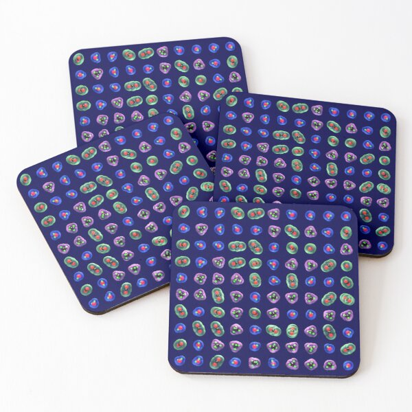 Greenhouse Gases Bright on Dark Blue Coasters (Set of 4)