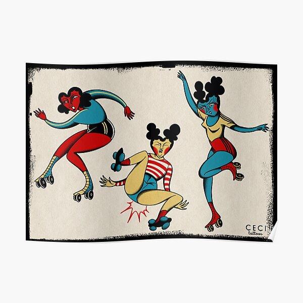 Roller derby heart girls tattoo flash sheet Poster