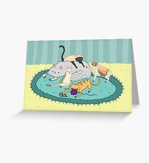Caturday Pile Greeting Card