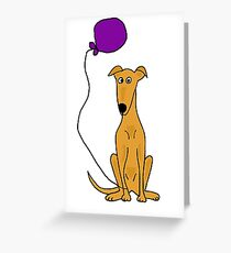 Cool Fun Greyhound Dog with Birthday Balloon Greeting Card