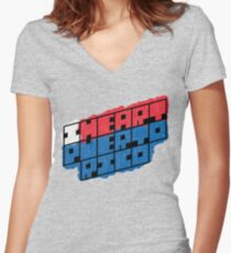 I Heart Puerto Rico Square Women's Fitted V-Neck T-Shirt