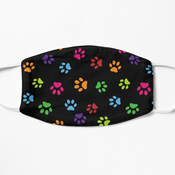 Cute and colorful dog paws Flat Mask