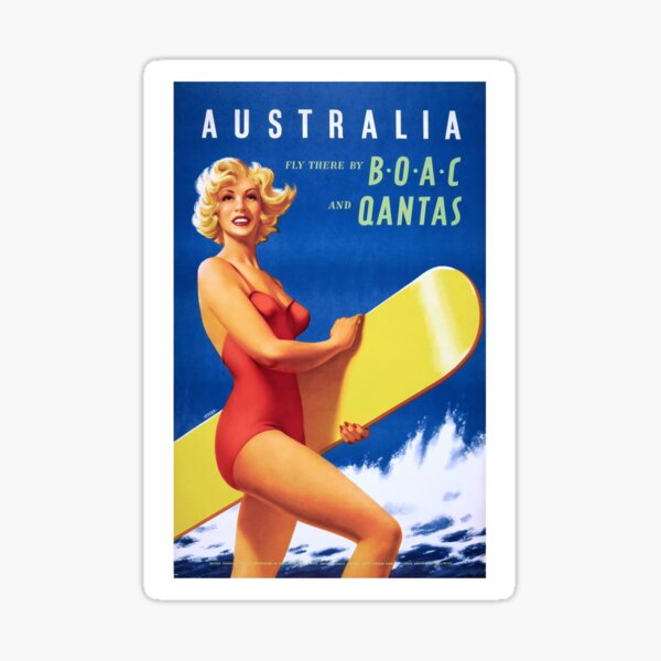 1956 Australia Fly There By BOAC And Qantas Airline Poster Sticker