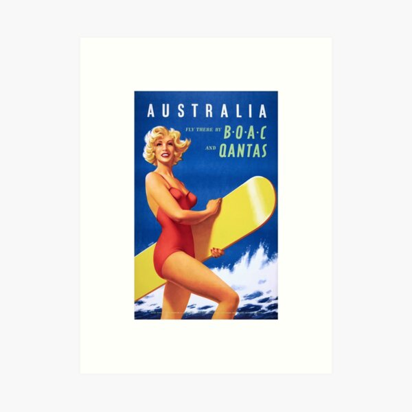 1956 Australia Fly There By BOAC And Qantas Airline Poster Art Print