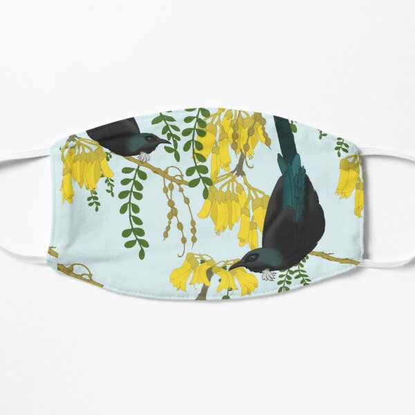 Tuis in the Kowhai Flowers Flat Mask