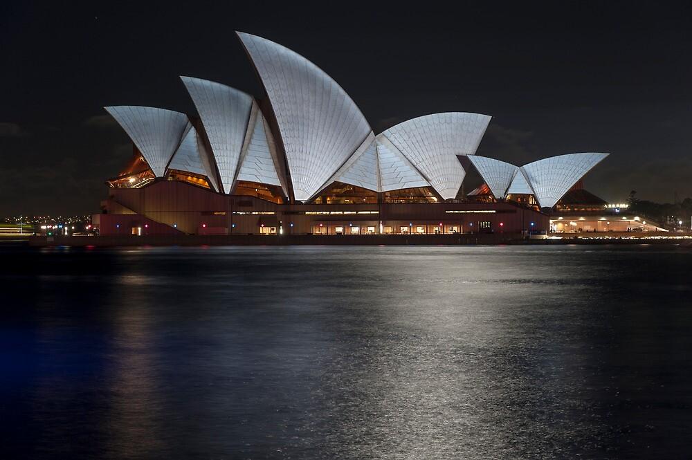 Sydney Opera House with moon light by KeithMcInnes