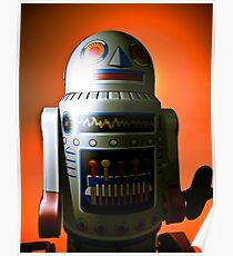 Retro Cropped Toy Robot 02 Poster