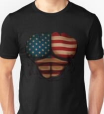 American Flag  Body Muscles  Ripped Funny Patriotic T-Shirt Unisex T-Shirt