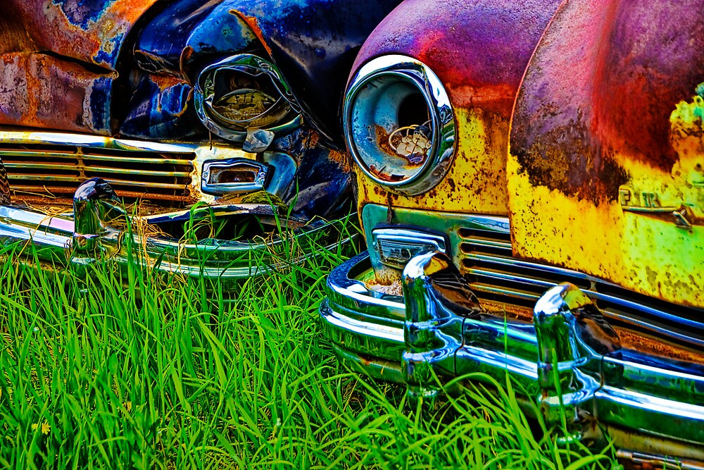 Vintage Frazer Auto Wreck Front Ends by Randall Nyhof