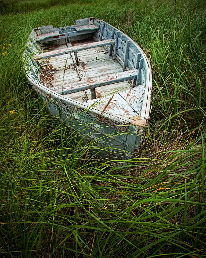 Old Weathered Row Boat abandoned in the Grass on PEI No.032 by Randall Nyhof