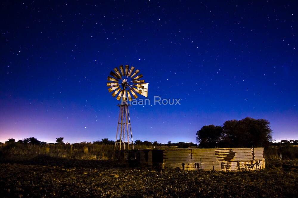 Starscape with Wind Pump by Riaan Roux