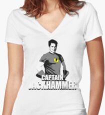 CAPTAIN JACKHAMMER Women's Fitted V-Neck T-Shirt