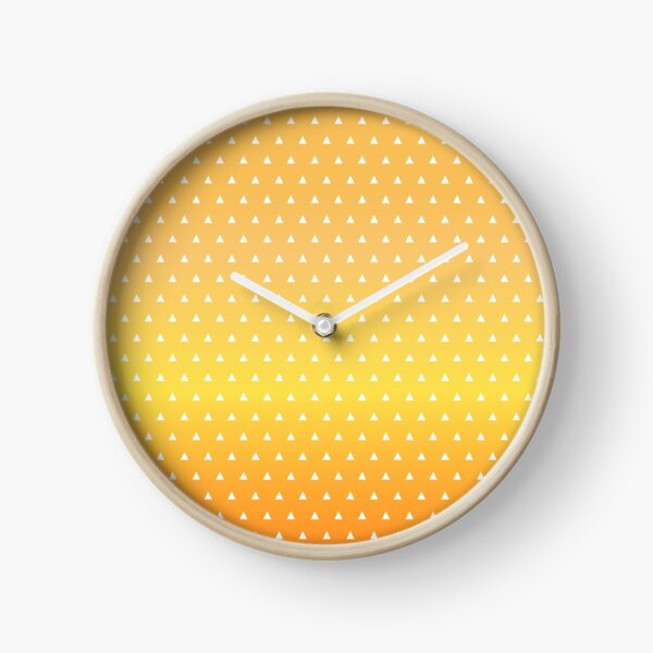 Traditional Japanese Triangle Kimono pattern, Yellow Orange White Pattern, Japanese Haori Pattern Clock