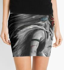 Mononoke Wolf Anime Tra Digital Painting Mini Skirt