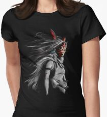 Mononoke Wolf Anime Tra Digital Painting Women's Fitted T-Shirt