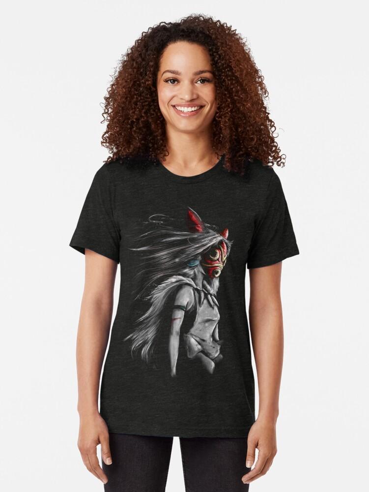 Vista alternativa de Camiseta de tejido mixto Mononoke Wolf Anime Tra Pintura digital