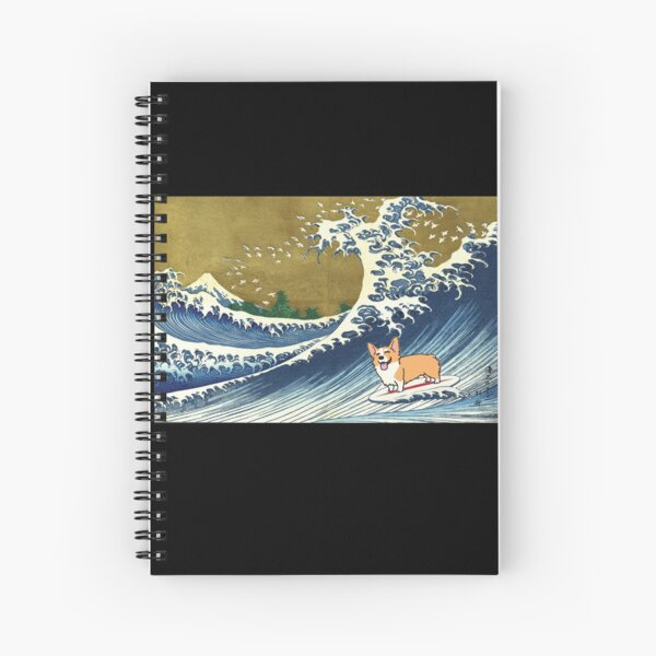 Corgi dog surfing The Great Wave  Spiral Notebook