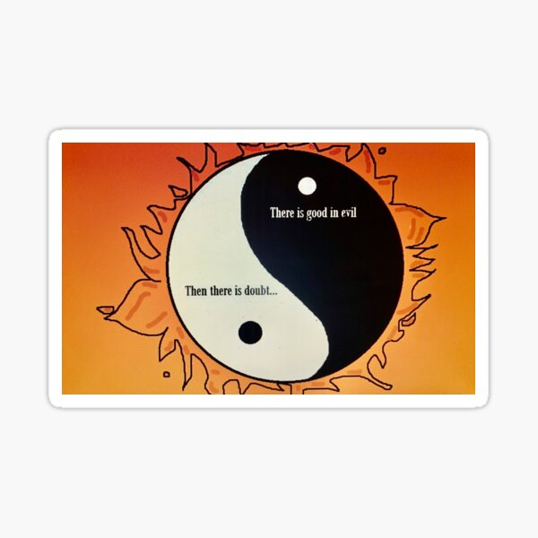 Yin Yang Duality of Good and Evil. Sticker