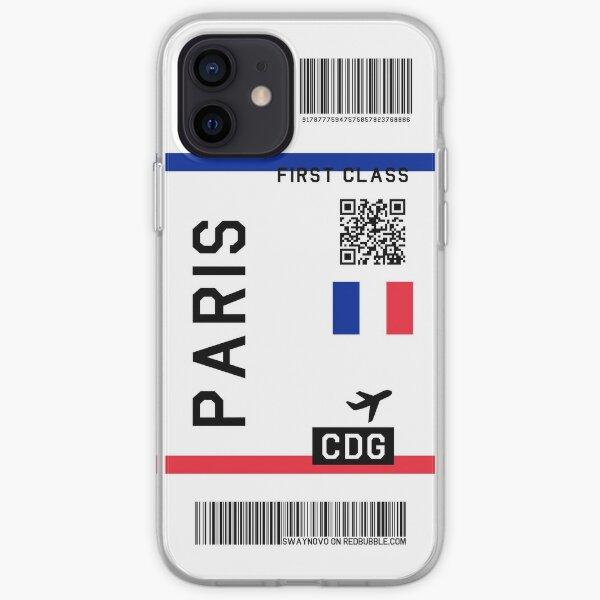 Boleto aéreo Paris Funda blanda para iPhone