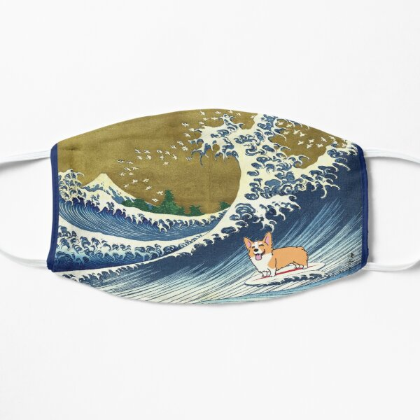 Corgi dog surfing The Great Wave  Flat Mask