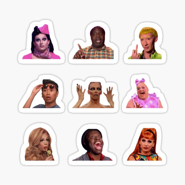 rupauls drag race funny drag queens sticker set Sticker