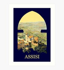 Vintage litho Travel ad Assisi Italy Art Print