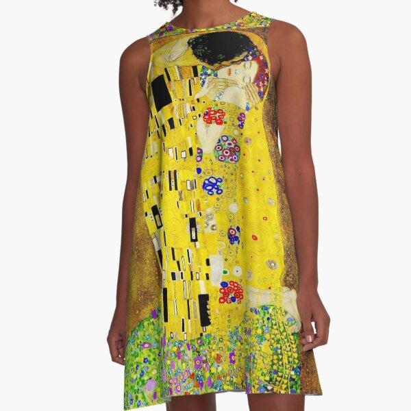 The Kiss by Gustav Klimt  |  Liebespaar - The Lovers A-Line Dress