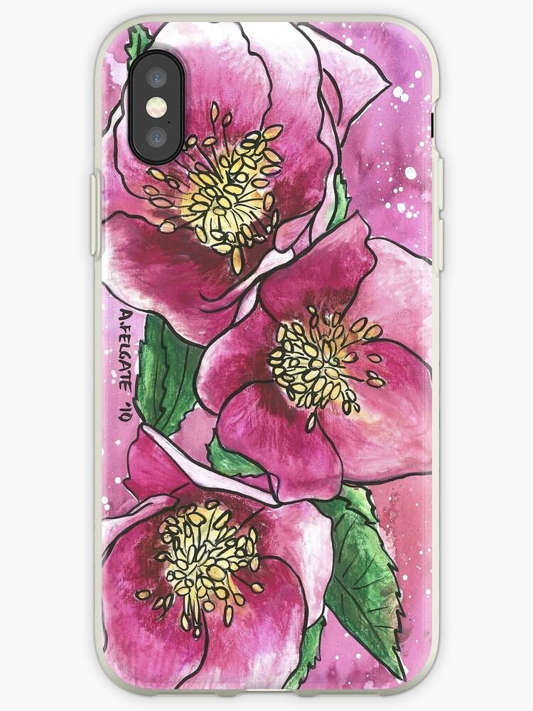Hellebores iphone case by Alexandra Felgate