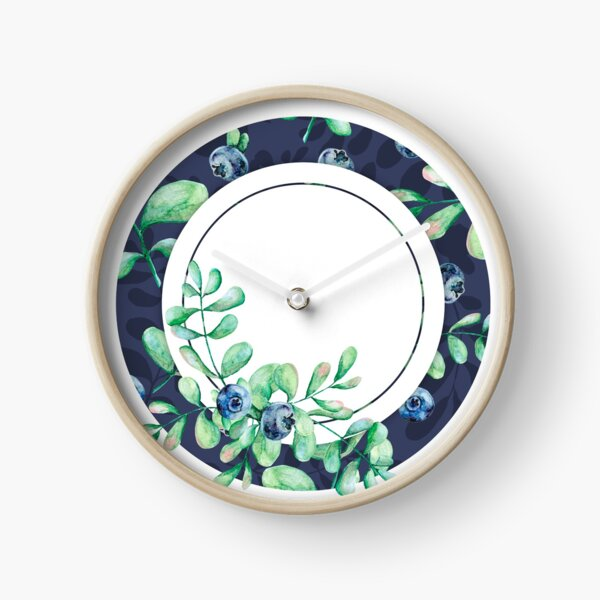 Blueberry plant and berries in colorful bright circles. Clock