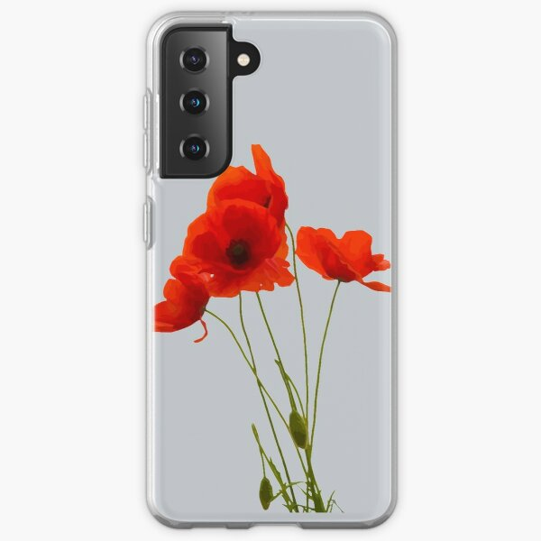 Delicate Red Poppies Floral Artistic Tribute Samsung Galaxy Soft Case