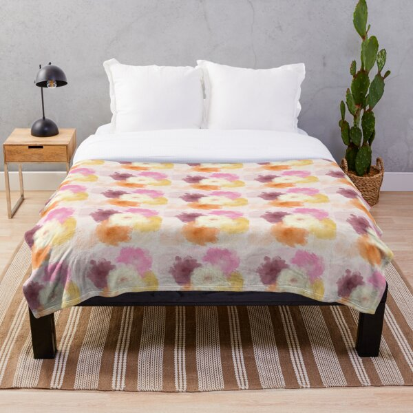 Soft Watercolor Rose Pattern Throw Blanket