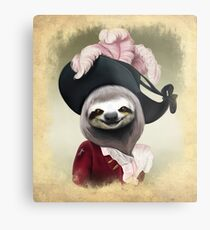 Aristocratic Lady Sloth Oil Painting Style Portrait Metal Print