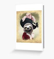 Tarjeta de felicitación Retrato aristocrático del estilo de la pintura al óleo de Lady Sloth