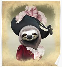 Aristocratic Lady Sloth Oil Painting Style Portrait Poster