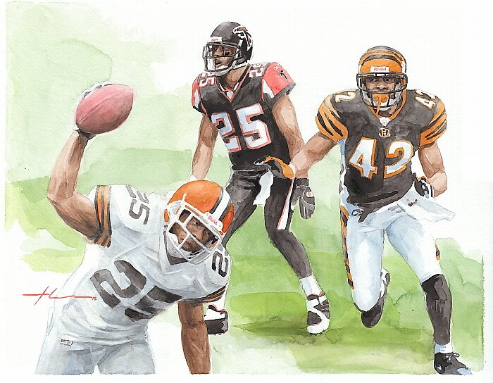 Football players watercolor by Mike Theuer