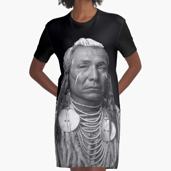 American Red Indian Cief Graphic T-Shirt Dress