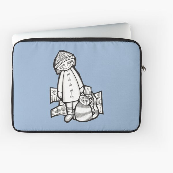 Girl and her cat (slim fit) black and white mosaic illustration Laptop Sleeve