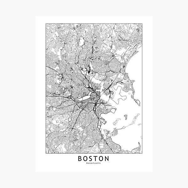 Boston White Map Photographic Print