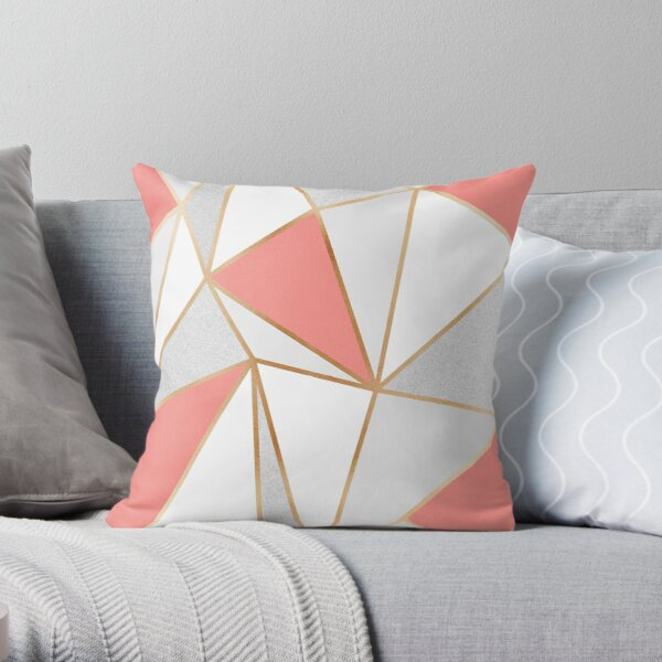 Coral, Grey & Gold Geo Throw Pillow
