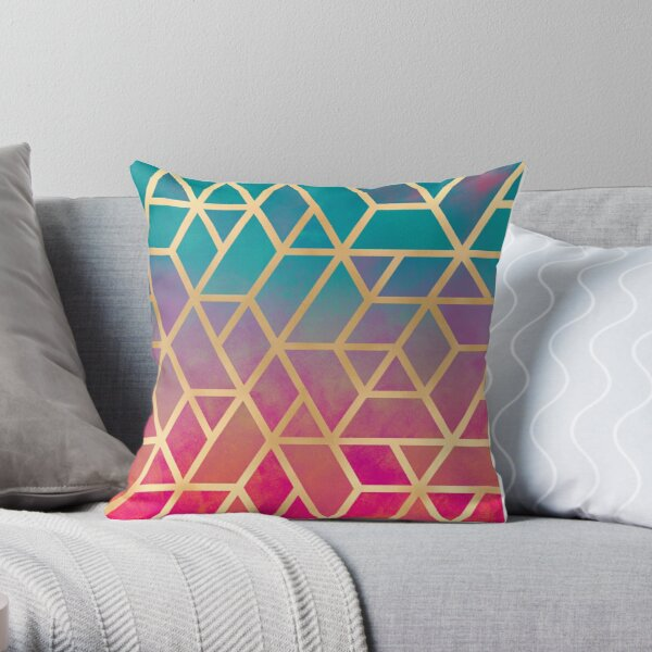 Blue, Pink and Gold Geo Throw Pillow
