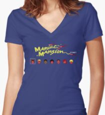 Maniac Mansion Women's Fitted V-Neck T-Shirt