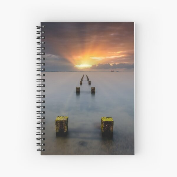 Stormy Seaview Sunbeams Sunrise Spiral Notebook