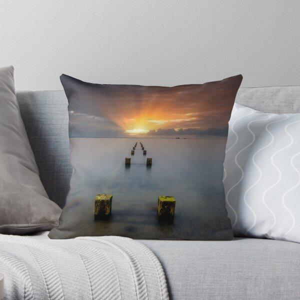 Stormy Seaview Sunbeams Sunrise Throw Pillow