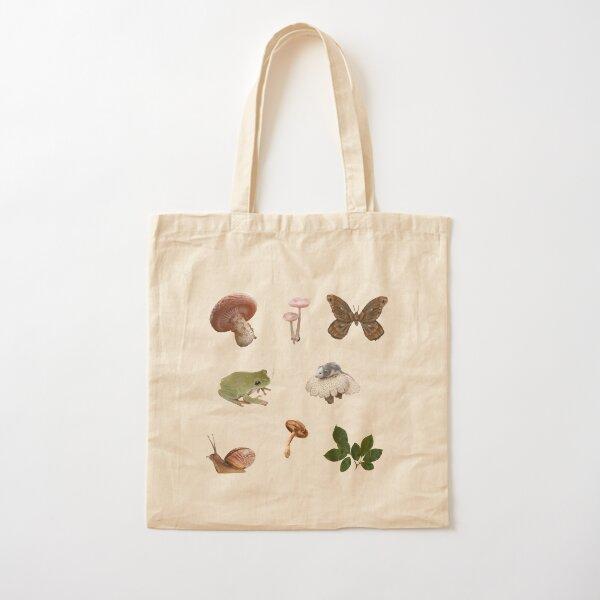 Goblincore fungi and frogs sticker set Cotton Tote Bag